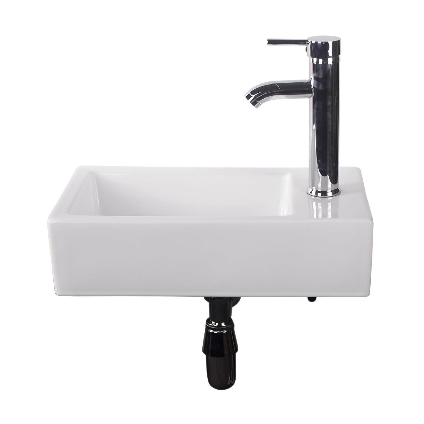 Walcut Bathroom Wall Mount Rectangle Corner Sink White Porcelain Ceramic Vessel Sink & Chrome Faucet Combo