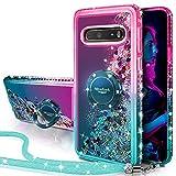 Silverback Kompatibel mit LG V60 ThinQ Hülle, LG G9 ThinQ/LG V60 Hülle, bewegliche Flüssigkeit, holografische Glitzer-Hülle mit Ständer, Bling Diamant Ring Slim Schutzhülle für Mädchen Frauen – Grün