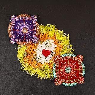 ARVANA Terracotta Decorative Diwali akhand Diya/Deepak with Wicks for Diwali Decoration & Home Office Decor (Pack of 2)