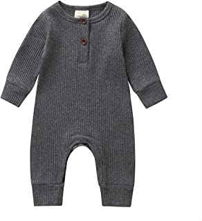 Newbown Baby Boys Girls Knitted Button Sweather Jumpsuit Sleepwear Long Sleeves Pajamas Fall Winter Bodysuit Outfit