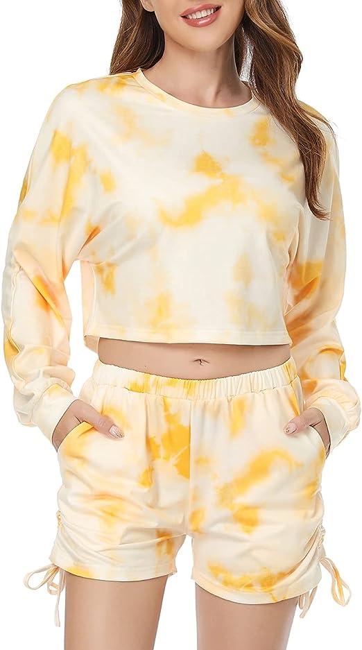 Sylanfia Summer Tie Dye Sweatsuits Lounge Tracksuit for Women 2pcs Top Short Outfits Set