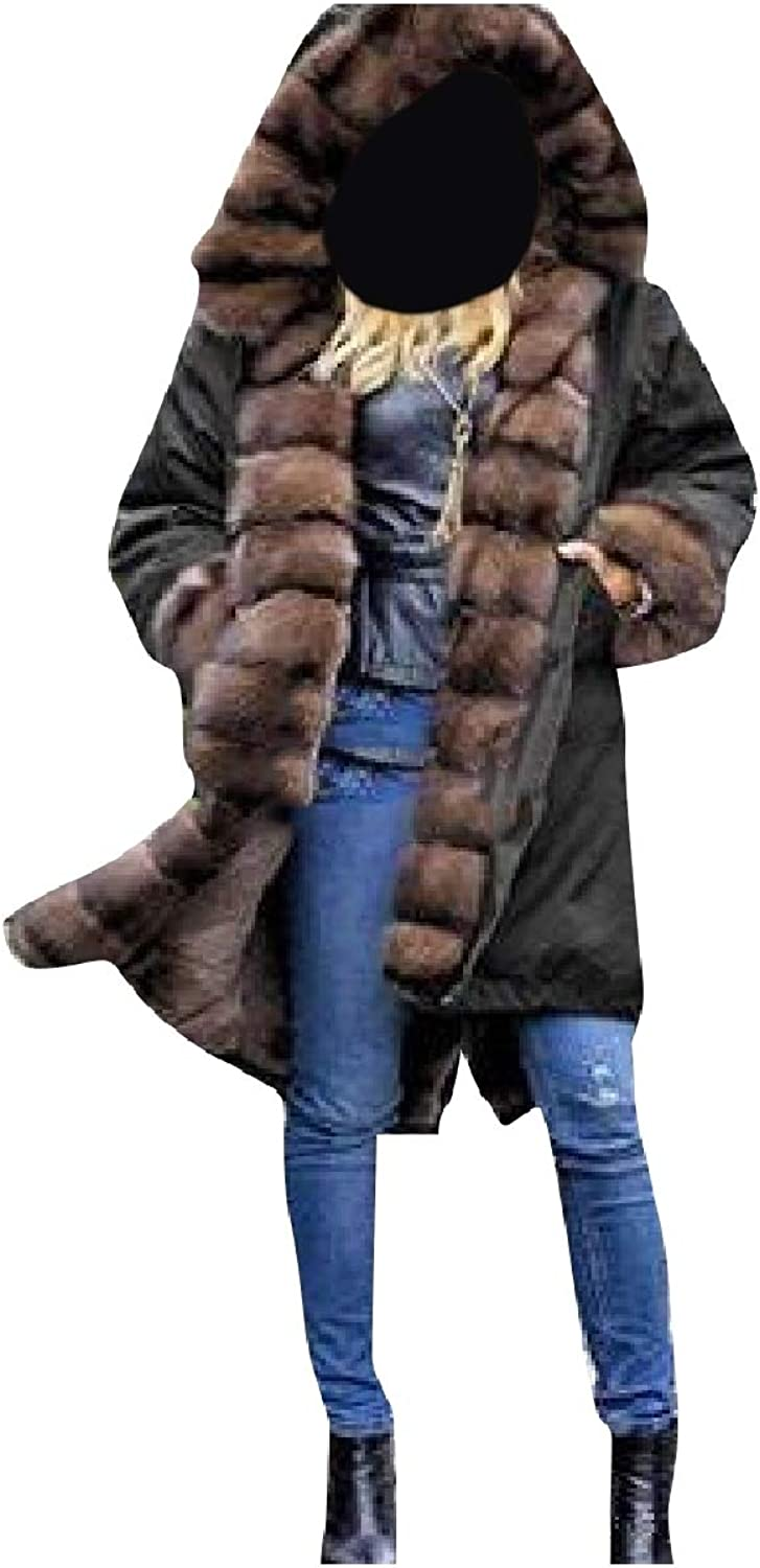 Coolhere Women's Warm with Faux Fur Hood Thickened Coats Parkas Jackets