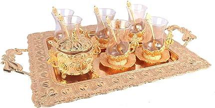 بن شيهون-أبوعمر طقم فناجين شاي زجاج شفاف بقاعدة ذهبية مع عبوة سكر وصينية - 11*9