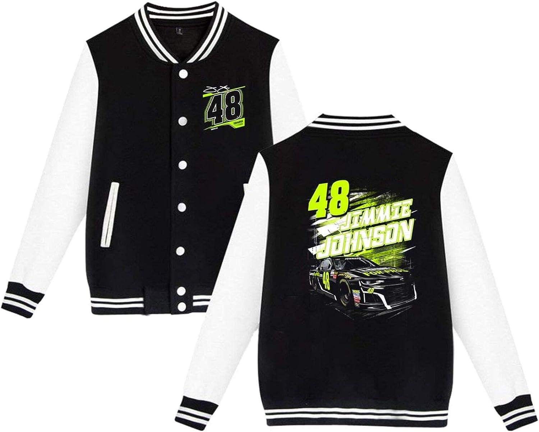 RSVPhandcrafted Jimmie Johnson 48 Baseball Uniform Jacket Sport Coat Long Sleeves Varsity Unisex Sweatshirts Streetwear with Pocket Lightweight Windbreaker Full Zip Active Outwear