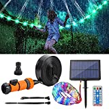 APCHY LED Trampoline Lights - Trampoline Sprinkler for Kids - 1 Roll 65.6Ft 200 LEDs Solar Rope Light and Trampoline Accessories Sprinkler 39.3Ft Long for Water Play, Games, and Summer Fun in Yards