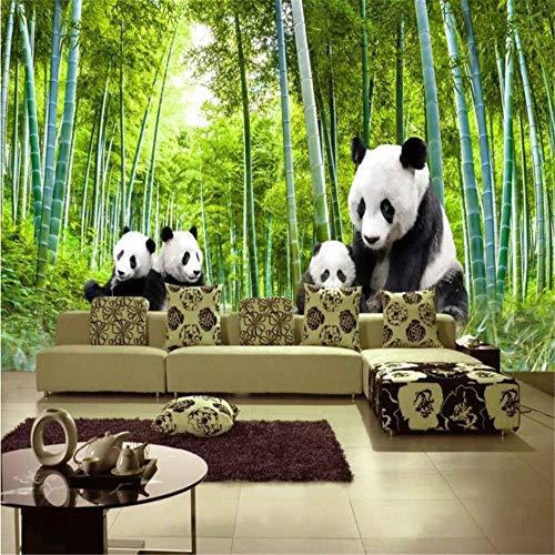 Muurschildering Muur Muralscute Zwart en Wit Panda Natuurlijke Landschap Bamboe Landschap Fotobehang Wallpaper Room Decoration Wallpaper 430 * 300cm