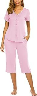 Ekouaer Women's Pajama Sets Capri Pants with Short Sleeve Tops Lace Trim Sleepwear S-XXL