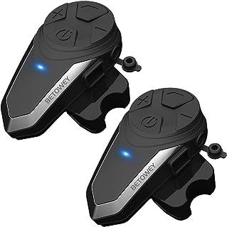 Intercomunicador Casco Moto, BETOWEY BT-S3 Bluetooth Auriculares Manos Libres para Casco Moto (2*BT-S3)