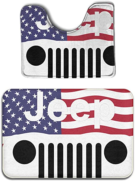 JACINTAN Jeep American Flag Logo 2 Piece Soft Bath Rug Set Includes Bathroom Mat Contour Rug Home Decorative Doormat
