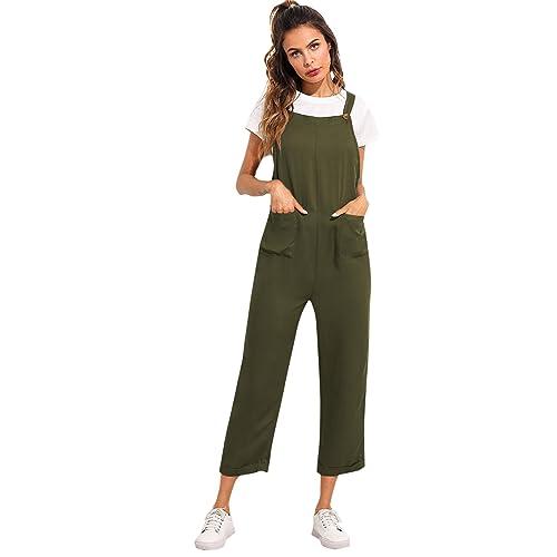 df3bd0fa17f Verdusa Women s Sleeveless Straps Pockets Plaid Culotte Jumpsuit Overalls