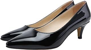 SHOESFEILD Heels for Women, Classic Fashion Pointed Toe Slip On Mid Heel Dress Pump Shoes