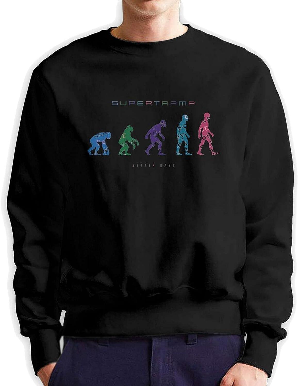 Supertramp Mens Long Sleeve Printed Pullover Cotton Black