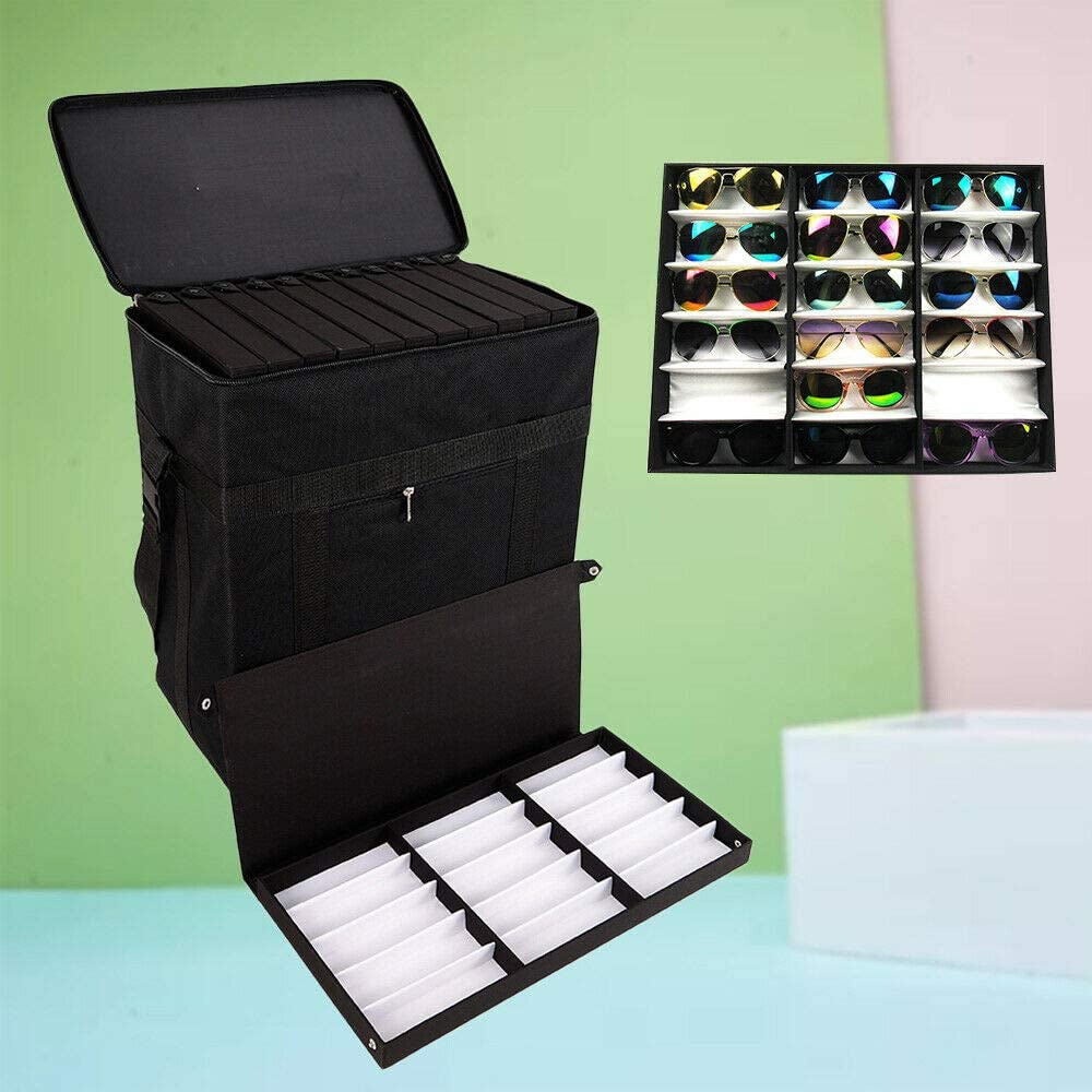 YIYIBYUS 180 Slot Best Sunglasses Box Trolley Case Men and Women Sunglasses Display Cabinet Storage Box Suitcase Oxford Cloth