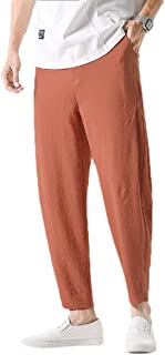 Fseason Men Pockets Middle Waist Embroidered Summer Relaxed-Fit Jogging Pants