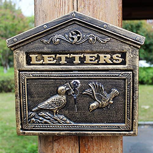 AQAQ Abschließbarer Briefkasten Wandhalterung Vintage Postkasten für den Außenbereich, Gusseisen und Aluminiumguss, Kleine Kapazität Abschließbarer Sicherer Standbriefkasten Dekor