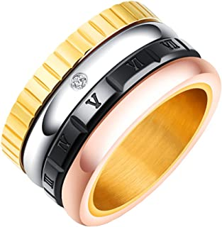 PAMTIER الفولاذ المقاوم للصدأ 12 مم واسعة الخطوبة الزفاف الفرقة الرومانية الأحجار خواتم للنساء الرجال