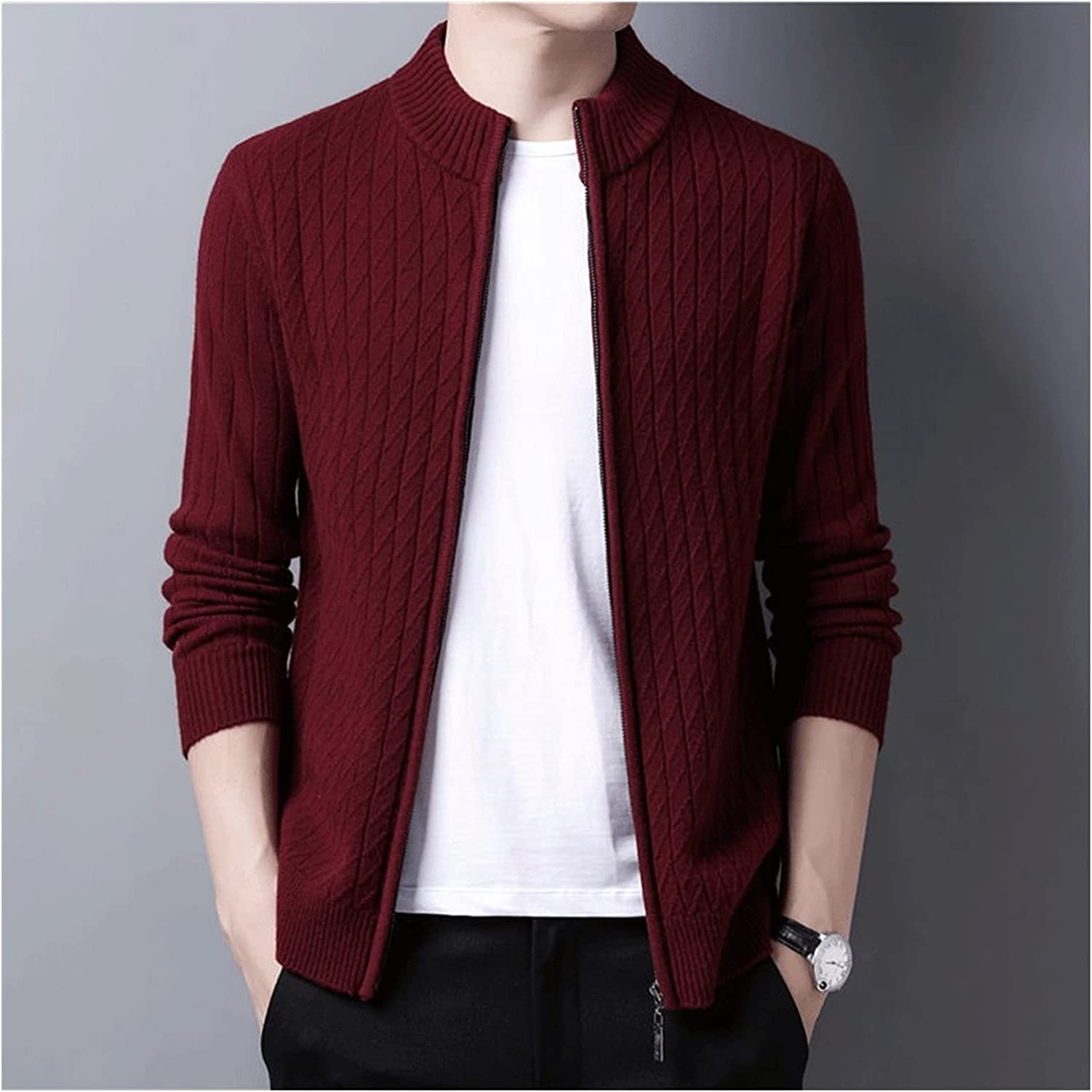 XJJZS Men Wool Cardigan Men Clothing Autumn Winter Thick Warm Sweatercoat Sweater (Color : Red, Size : XL code)