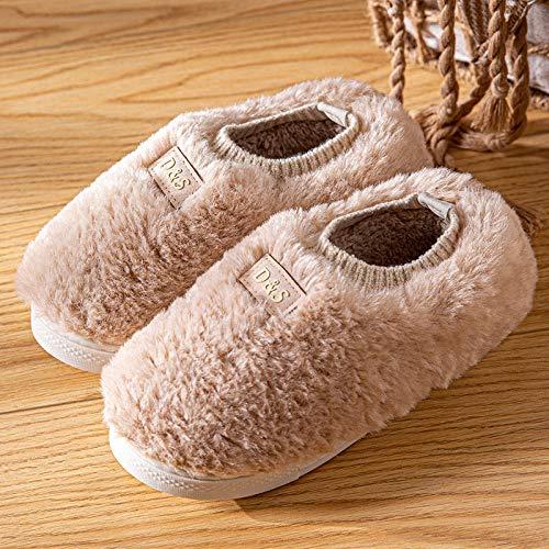 Nwarmsouth Invierno Confort Memoria Espuma Zapatillas,Zapatos de algodón para el hogar con tacón de Bolso, Pantuflas cálidas de Felpa-Beige_35-36,Slippers Unisex-Adulto