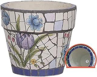 Kotee Färgad keramik blomma kruka spansk stil gårdsplan handmålade keramiska växtkruka mosaik stor blomma kruka bonsai pla...