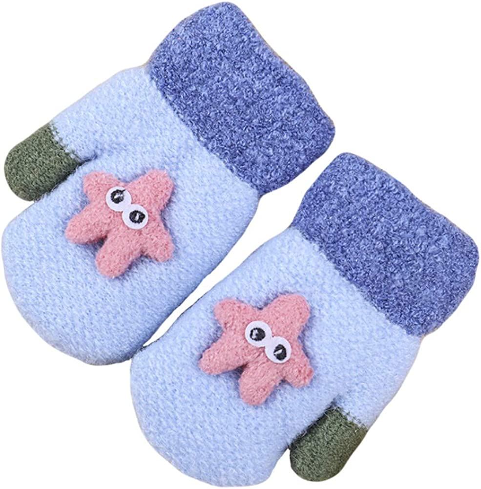 CHUANGLI Toddlers Kids Warm Winter Knit Mittens Cute Cartoon Starfish Full Finger Gloves Fleece Lined Ski Gloves