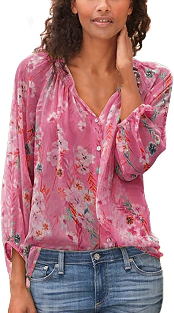 977 Blouses for Women Floral Print Loose Long Sleeve Casual Tunics Button Down V-Neck Breathable T-Shirts