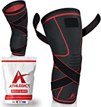 Knee Brace Compression Sleeve with Strap for Best Support & Pain Relief for Meniscus..