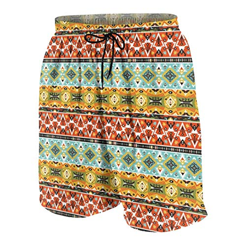 MAYBELOST Pantaloncini da Spiaggia da Uomo,Motivo Geometrico Decorativo Colorato nel des, Calzoncini da Bagno ad Asciugatura Rapida Costumi da Bagno con Fodera e Tasche in Rete