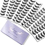 50 Pairs 5 Styles Natural False Eyelashes Set, TINGESHINE Professional Eyelashes Pack, Handmade Soft Band Reusable Comfortable Fake Lashes, 10 Pairs Eyes Lashes Each Style