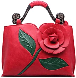 Simple handbag, retro shoulder bag, rose flower bag, large capacity travel bag, pu female bag, a variety of colors are available, highlighting the temperament (Color : Red, Size : One size)