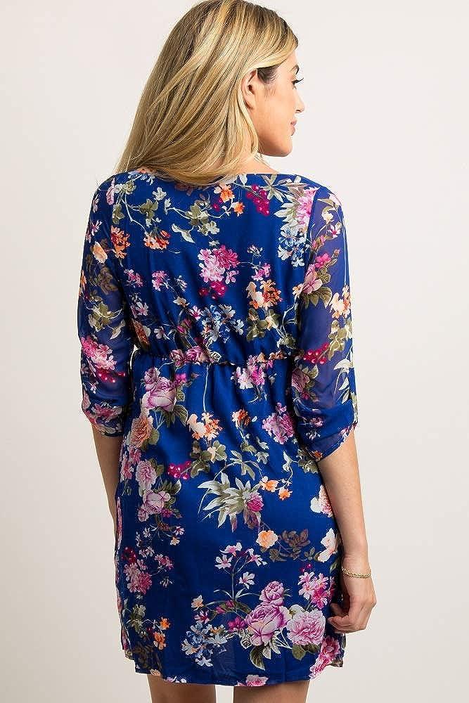 PinkBlush Maternity Royal Floral 3//4 Sleeve Chiffon Dress
