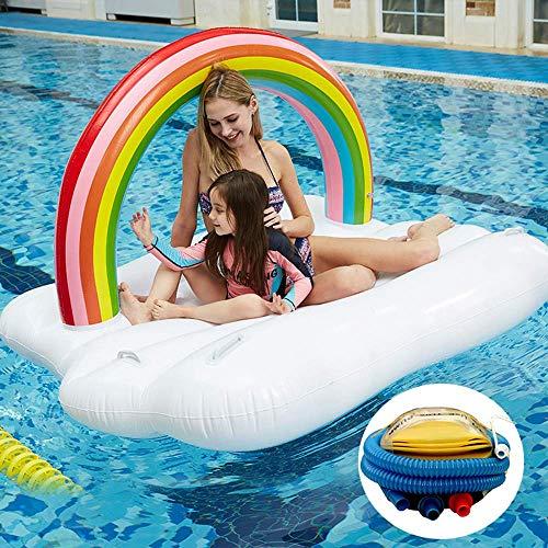 Kyman Inflable Gigante Rainbow Clouds Rebanada Piscina flotadores Isla, 210cm Natación Cama Flotante Agua Juguetes Sea Party Camas de Aire con Bomba de Aire del Pedal
