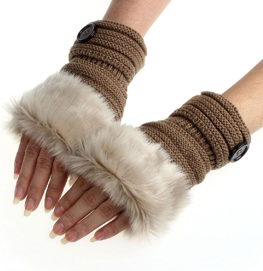 BEAUTYVAN Women Winter Warm Faux Rabbit Fur Mittens Wrist Fingerless Gloves Fashion Gloves