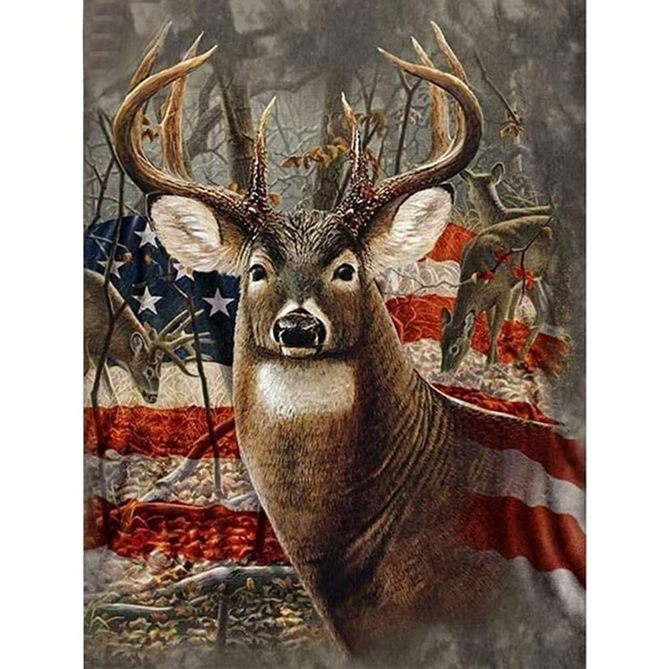 5D Diamond Painting Kits for Adults Full Drill The Americana Deer Embroidery Rhinestone Painting-Cross Stitch Arts Craft for Home Wall Decor Gift