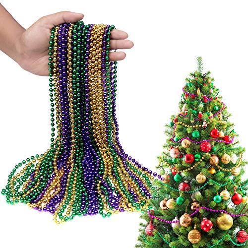 Belle Vous Collar de Cuentas Mardi Gras (48 Piezas) - 41cm Cadena de Cuentas Guirnalda 3 Colores para Deco de Navidad, Árbol de Navidad, Decoración de Fiestas y Mesas, Accesorio de Disfraz para Fiesta