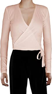 Ooh La La Women's Jersey Knit or Stretch Velvet Long Sleeve Wrap Tie Fitted Top Blouse Cover up