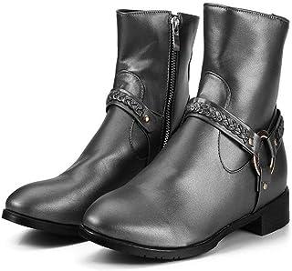 LXWS Bottes De Chevalier Western Cowboy Style Fermeture Éclair Latérale Bottes De Moto en Cuir Grande Taille Équitation Ch...