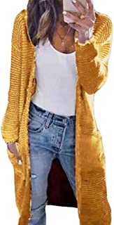 Women Casual Open Front Long Sleeve Chunky Knit Cardigan Sweater with Pocket