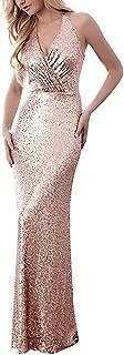 Gold Sequins Mermaid V Neck Bridesmaid Dresses Plus Size Prom Dresses