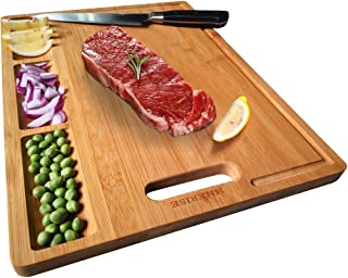 HHXRISE Organic Bamboo Cutting Board For Kitchen, With 3 Built-In Compartments And Juice Grooves, Chopping Board For Meats...
