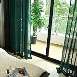 Vorhänge & Gardinen, durchscheinend, mehrfarbig, gestreift, Polyester, für Fensterbehandlungen, Fertigprodukt, Wohnzimmer-Ösen, ein Panel, dunkelgrün, 1 Stück (150 x 270 cm)