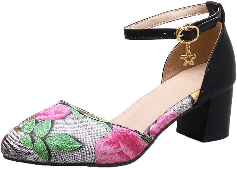 AllhqFashion Women's Closed-Toe Kitten-Heels Solid Sandals, FBULD014229