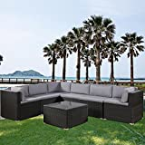 Flieks 5-Piece Outdoor Furniture Sets Wicker Patio Sectional Sofa Garden Conversation Set with Two Tea Tables, Beige Cushions, Brown Wicker