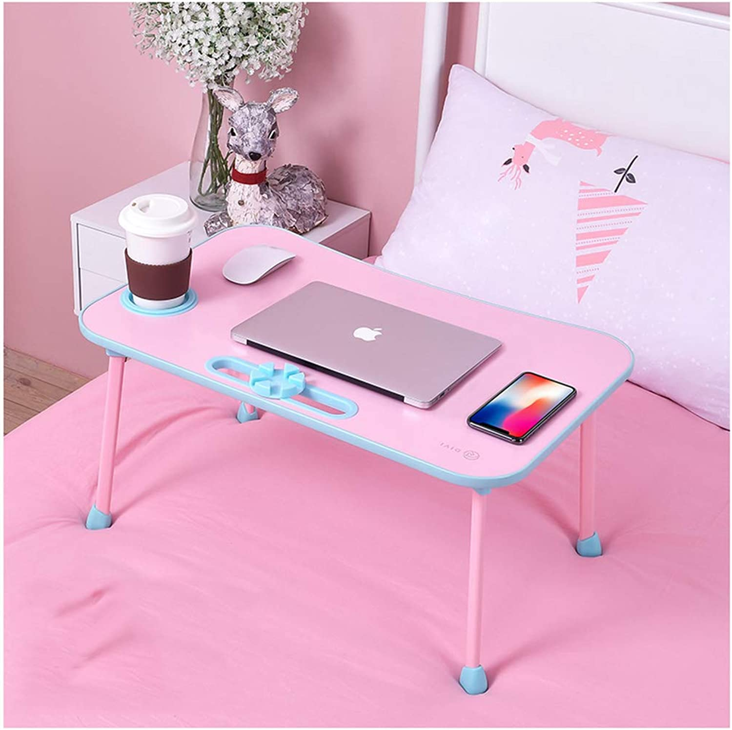 Folding Table Solid Wood Foldable Multi-Functional Bed Lazy Desk Foldable-College Dormitory Artifact Notebook Study Computer Table (color   Pink)