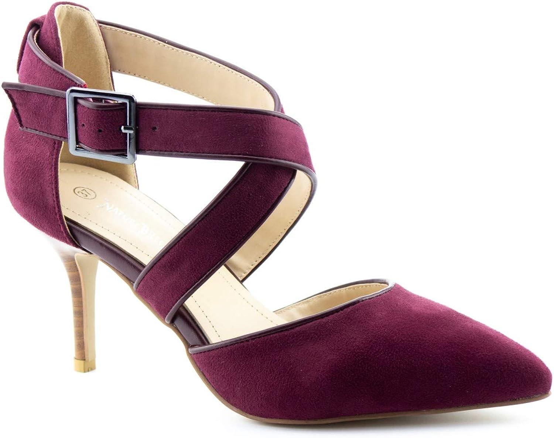 Calico KiKi TARYN-CK01 Women's High Heel Pumps Pointed Toe Cross Strap (8.5 US Wine SU)