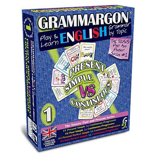 GRAMMARGON® Play & Learn English Grammar by Topic: Present Simple VS Present Continuous/Progressive | juego de cartas para aprender inglés- niños y adultos, A1-C2, Edición Internacional en inglés