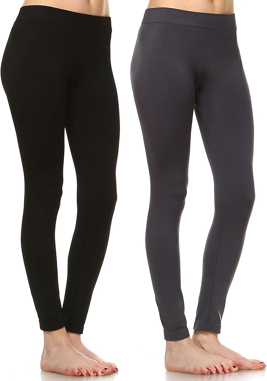 white mark Women's Pack of 2 Solid Color Leggings