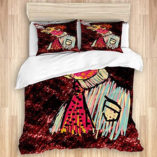 NOLOVVHA Decorative Duvet Cover Set,Arty cartoon side pose,Microfibre 135x200 with 2 Pillowcase 50x80,Single