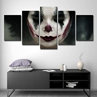 upnanren 50CM Framed 5 Board Modern Home Decor Painting Canvas sad Clown Painting Room on Canvas