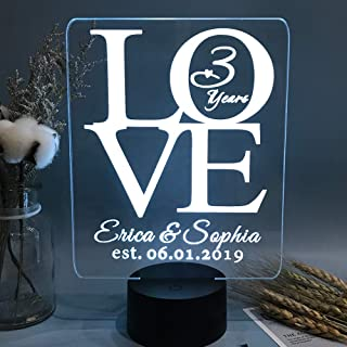 Wedding Anniversary Gifts, Custom Any Years 3D Night Light for Couples, Parents or Grandparents, Personalized Lamp Present for Her or Him