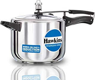 Hawkins Stainless Steel Induction Compatible Pressure Cooker, 5 Litre, Silver (HSS50)